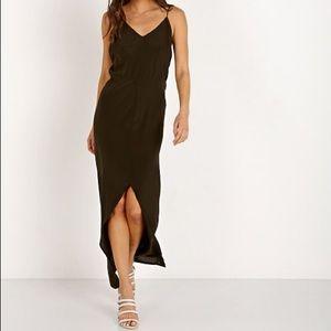 🆕 ACACIA SWIMWEAR Nunu Blk Gray Stripe Silk Dress
